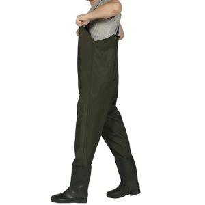 Wathose Anglerhose Fischerhose Watstiefel Teichhose mit Stiefel Fisch Teich Angler Herren Damen PVC Wasserdicht/Gummi Nylon Grün